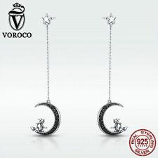 Voroco Halloween 925 Sterling Silver Stud Dangle Earrings Moon Witch CZ Jewelry