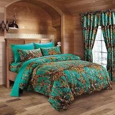 WOODLAND TEAL TWIN SIZE 4PC WOODS CAMO COMFORTER SHEET SET CAMOUFLAGE BEDDING