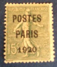 Preos N° 25 15 C Vert Paris 20 Oblitéré  TB Cote 125€