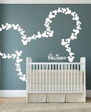 Wall Sticker Personalized Mickey Mouse Nursery Decal Customized Name Color Decor