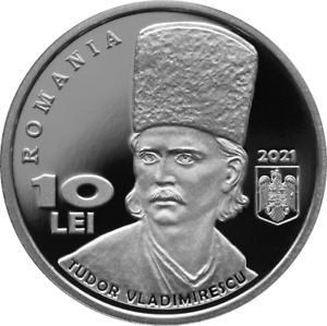 10 Lei silver coin -200 years since the Revolution of 1821 led by T.Vladimirescu