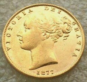 1877  syd  victoria shield full sovereign  ef or better  #al472