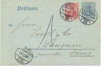 """DT.REICH """"HAMBURG / 23"""" K2 a. 2 Pf Pra.-Deutsches-Reich-GA + 10 Pf Germania 1902"""