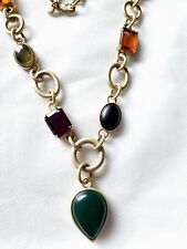 Amber, Emerald Amethyst Jeweled Long Necklace Ann Taylor Loft Brushed Gold Onyx,