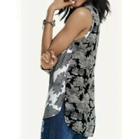 Cabi Cowl Neck Sleeveless Floral Tank Top Blouse Black White Hi Lo Rayon Sz XS