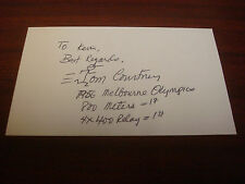 Tom Courtney 1956 Olympic 2X Gold Signed 3x5 Index Card Authentic Autograph M7
