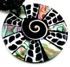 "Handmade 2"" Abalone shell Cone Shell Shiva Eye Beads necklace 18.5"" long ; AA251"