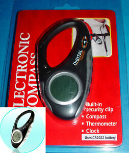 Digital Compass with Thermometer and Clock, Brand New and Low Price,