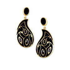 Gold Paisley Collection earring with black enamel  & black marquise cz