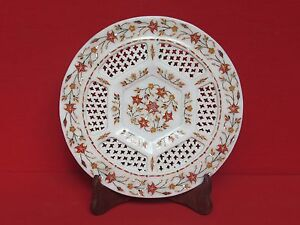 Marble Plate Inlay Work Handmade Craft Stone Pietra dura Home Decor & gift