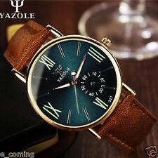 YAZOLE Fashion Men Watch Leather Glass Luminous Quartz Analog Sport Wrist watch