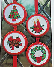 "CHRISTMAS FOUR  4"" ORNAMENTS 1981 BETTER HOMES & GARDENS EMBROIDERY KIT #27515"
