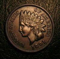 OLD US COINS 1891 INDIAN HEAD CENT PENNY FULL LIBERTY BEAUTY