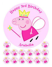 PEPPA PIG EDIBLE ICING BIRTHDAY CAKE IMAGE FREE 14 CUPCAKE CUP CAKE TOPPERS