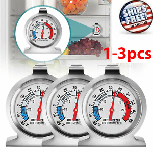 Refrigerator Freezer Thermometer Fridge DIAL Type Stainless Steel Hang Stand 1-3
