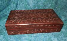 """Flowers & Vines Wood Trinket Box Hand Carved NEW 1lb 13oz 10"""" x 5.5"""" red lining"""