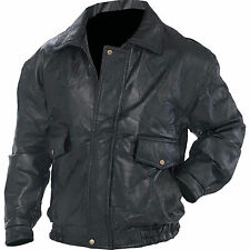 Mens Black Patchwork Leather Fully Lined Bomber Jacket Snap Closure at Wrists