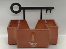 Larceny Bourbon Bar Caddy Whiskey Napkin Holder Wood With Metal Key