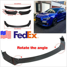 3D Glossy Carbon Fiber Car Front Lip Chin Bumper Body Spoiler Kit Universal 3 Pc