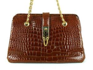 JUDITH LEIBER Cognac Shiny Crocodile Skin Gold Chain Strap Shoulder Bag