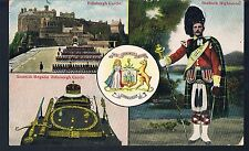 VALENTINES POSTCARD C1910 EDINBURGH CASTLE AND SEAFORTH HIGHLANDER