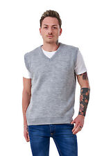 Men's Plain Knitted V Neck Classic Sleeveless Cardigans Tops Jumpers Size S-5xl 4xl Silver Grey 100 Acrylic