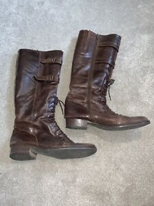 Ladies Brown Leather Resoled Boots Lace Buckle Zip Small Heel Size 6 1/2