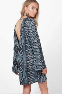 Boohoo Alice Shift Dress Paisley Low Back Flute Sleeve Blue Size 10 New