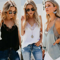 Womens Silk Satin Camisole Lace Plain Strappy Vest Sleeveless Blouse Casual Tank