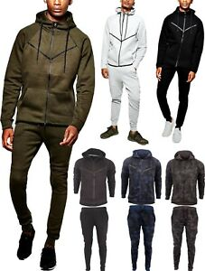 Mens Camouflage Camo Design Tracksuit Slim Fit Joggers Pants Bottoms  Zip Hoody