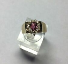 Gorgeous Ladies 14Kt Yellow Gold Natural Ruby And Diamond Ring