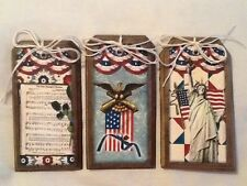 5 WOODEN Americana Ornaments,PATRIOTIC GiftTags,Bowl Fillers,USA HangTags SET;1