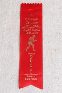 Vintage Chicago Tribune Golden Gloves 1960 Red Boxing Ribbon South Section