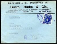BOLIVIA TO ARGENTINA, JUDAICA, Registered Cover 1940, VF