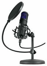 Profi USB Studio Kondensator Mikrofon Podcast Tischstativ Popschutz Spinne Set
