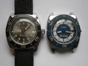 Job lot vintage DIVERS STYLE gents TIMEX watches mechanical spares or repair