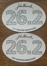 (2) 2017 Boston Marathon Official 26.2 Car Bumper Stickers Decal John Hancock
