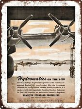 """1944 WWII HAMILTON 4-Blade Propellers Aviation Metal Sign Repro 9x12"""" 60415"""