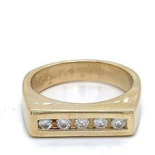 0.25 TCW Round Diamonds Men's Ring In Solid 14k Yellow Gold Size 11