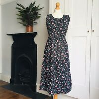 Vintage 90s Black Red White Floral Print Finely Pleated Top Dress 8 10 12