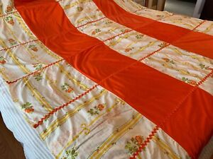 """Vintage Patched Orange Yellow Polyester Bedspread Hippie Boho Coverlet 76"""" X 94"""""""