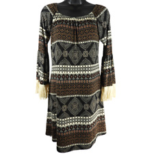 Honeyme Black Brown & Cream 3/4 Bell Sleeve Dress Women's Size Small