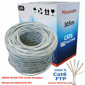 305M CAT6 FTP Outdoor RJ45 Network Ethernet LAN Cable Roll 4 Pair ADSL Reel Box