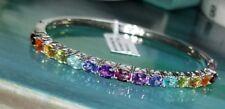 Chuck Clemency NYCII Sterling silver Rainbow multi gemstone Bangle bracelet
