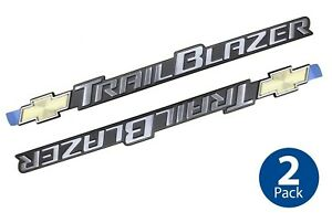 (2) GM Chevy Trailblazer Emblems OEM Adhesive Badge Logo Front Door Decal NOS
