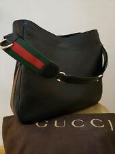 Black Leather Gucci Handbag Green and Red Web Purse Bag Tote