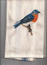 NEW kitchen Tea Towel embroidered with BLUE BIRD