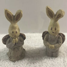 Vintage Sarah's Attic Granny's Favorites Praying Bunny Rabbits with Angel Wings
