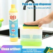 2-in-1 Manual Press Liquid Soap Dispenser with Sponge Holder Cleaning Liquid☆DFN