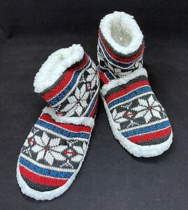 Soft Cozy Ladies Blue Red Black Winter Snow Christmas Slippers House Boots T84